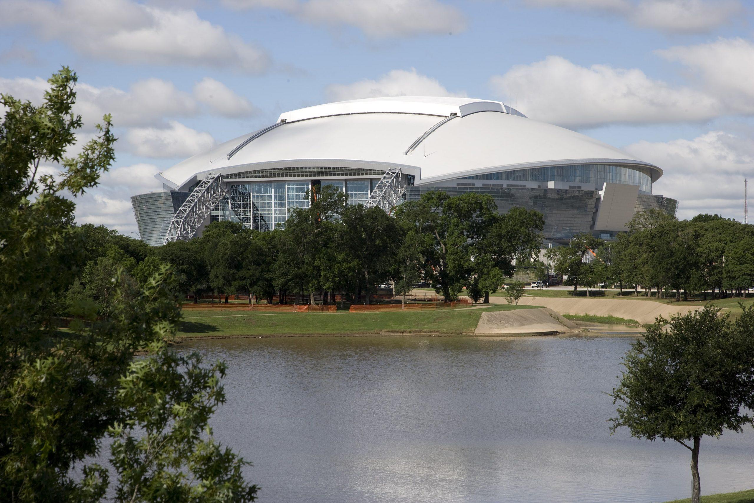 Cowboys Stadium across pond-min